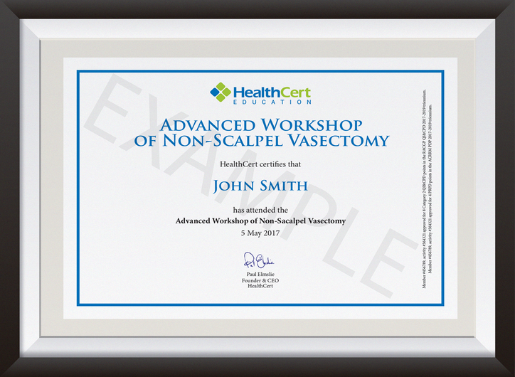 Advanced Certificate in Non-Scalpel Vasectomy