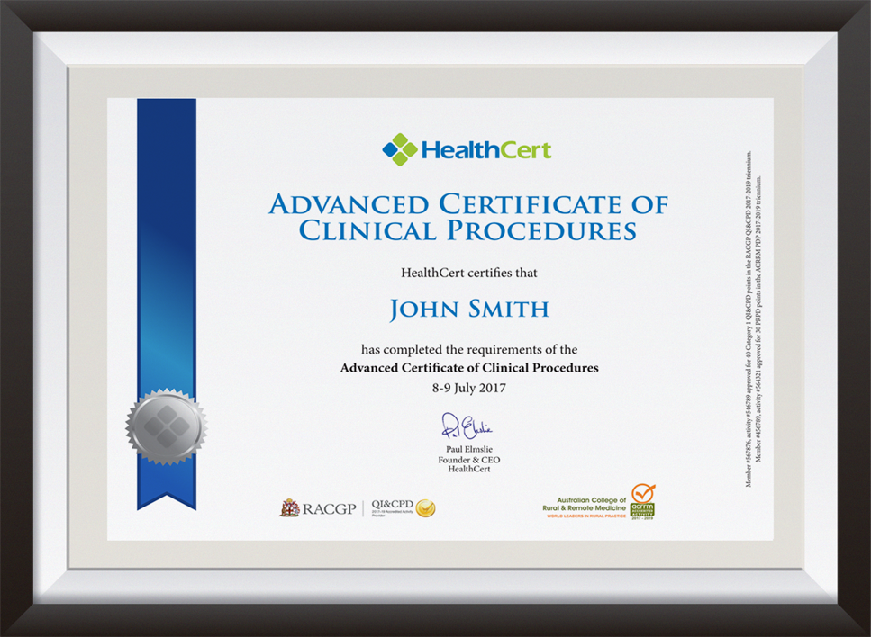 Advanced Certificate of Clinical Procedures