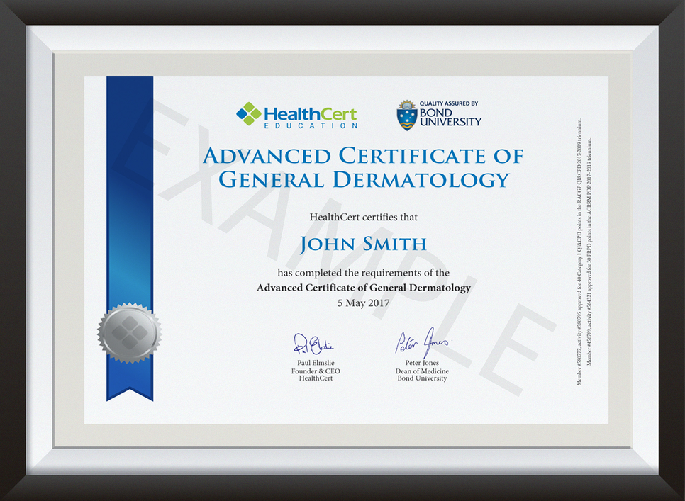 advanced certificate of general dermatology