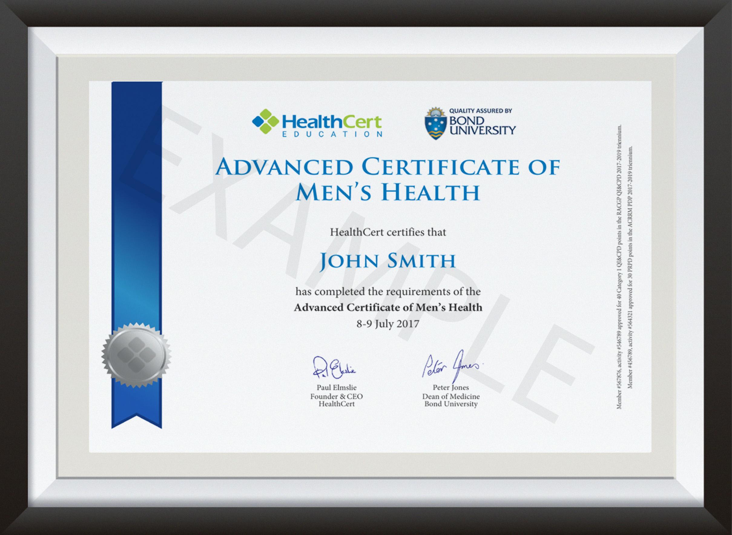 Advanced Certificate of Men's Health