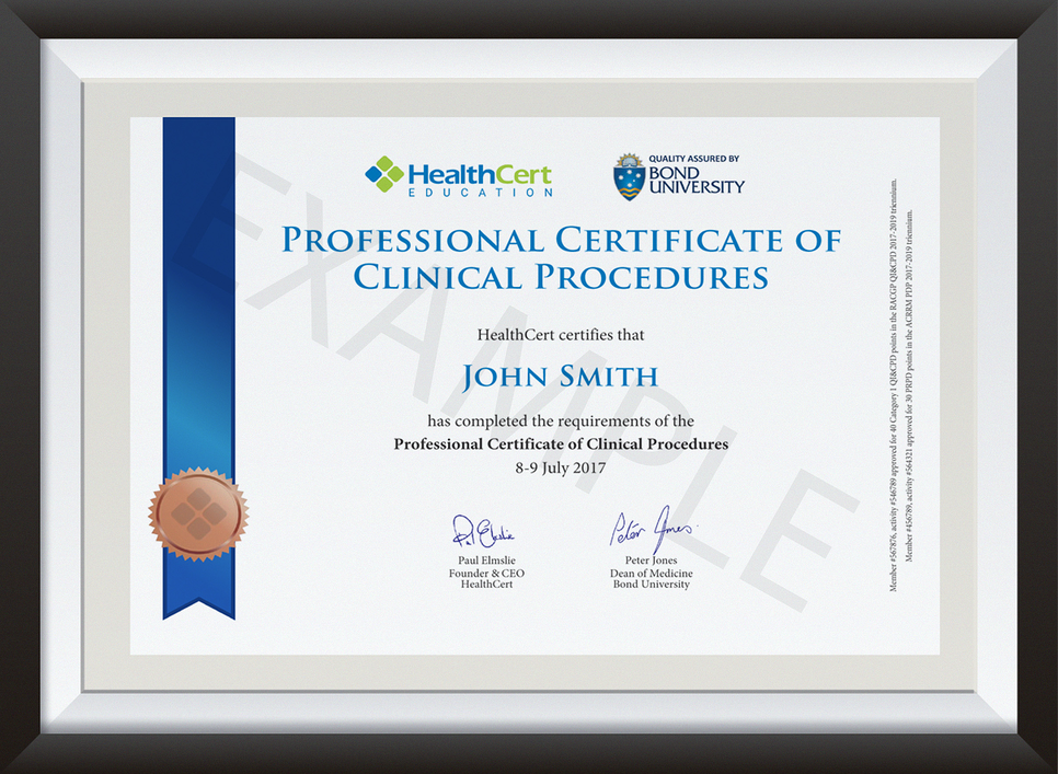 Professional Certificate of Clinical Procedures