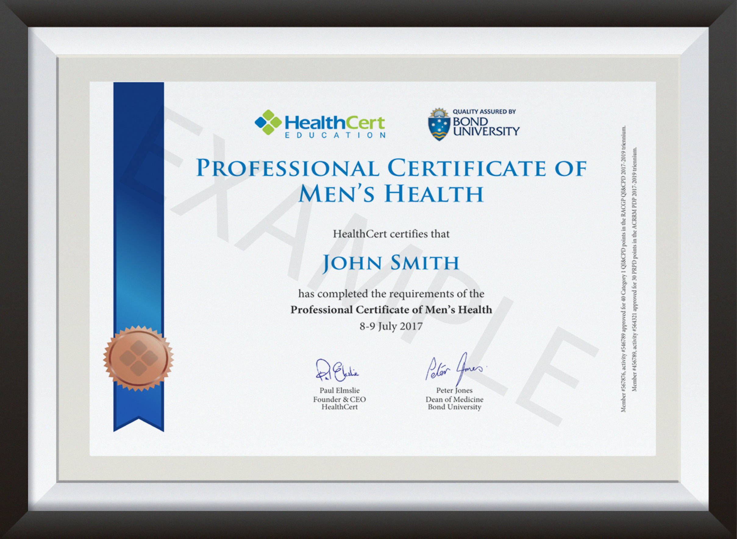 Professional Certificate of Men's Health