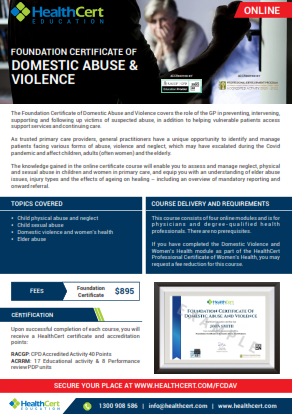 Foundation Certificate of Domestic Abuse & Violence